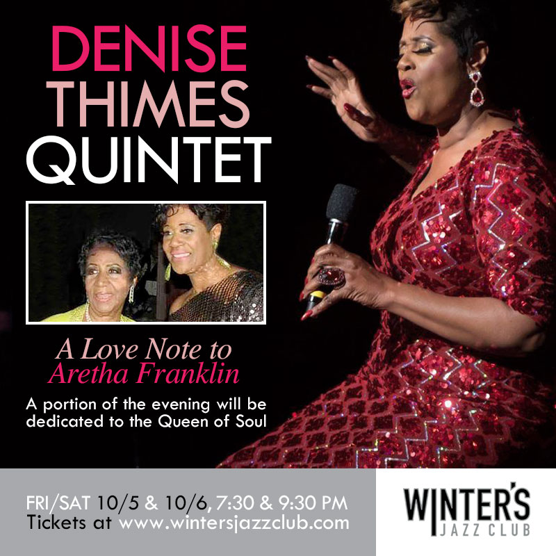 Denise Thimes WInters Jazz Club Oct 5 & 6, 2018